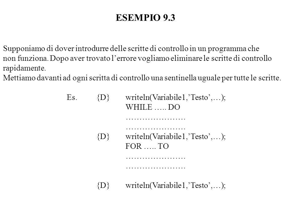 ESEMPIO 9.3 Supponiamo di dover introdurre delle scritte di controllo in un programma che non funziona.