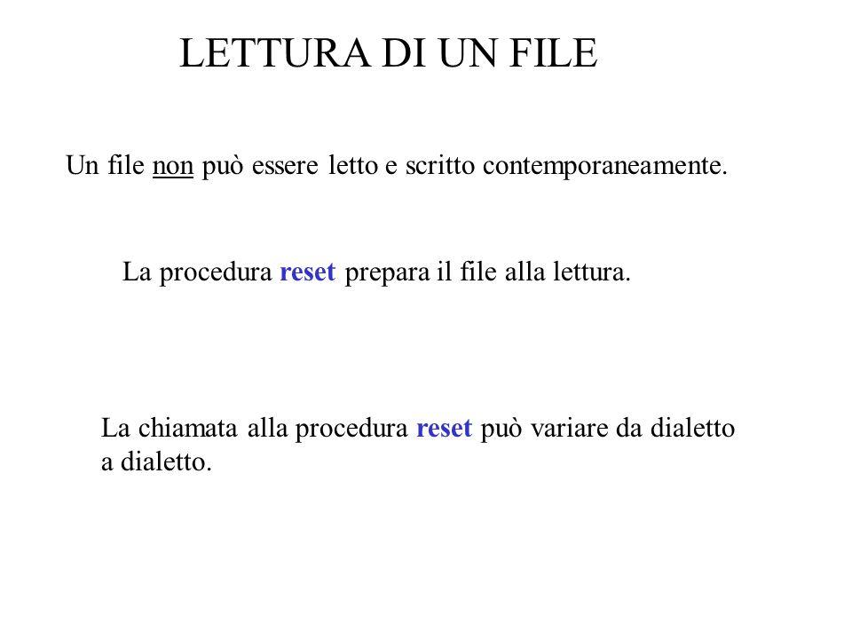PROCEDURE LeggiRigo(Sentinella: char; VAR Nome:StringaNome; VAR Risultati:text); VAR Carattere: char; BEGIN Nome:= ; {inizializza con stringa nulla} read(Risultati,Carattere); WHILE (Carattere<>Sentinella) DO BEGIN Nome:=Nome+Carattere; read(Risultati,Carattere); END END;