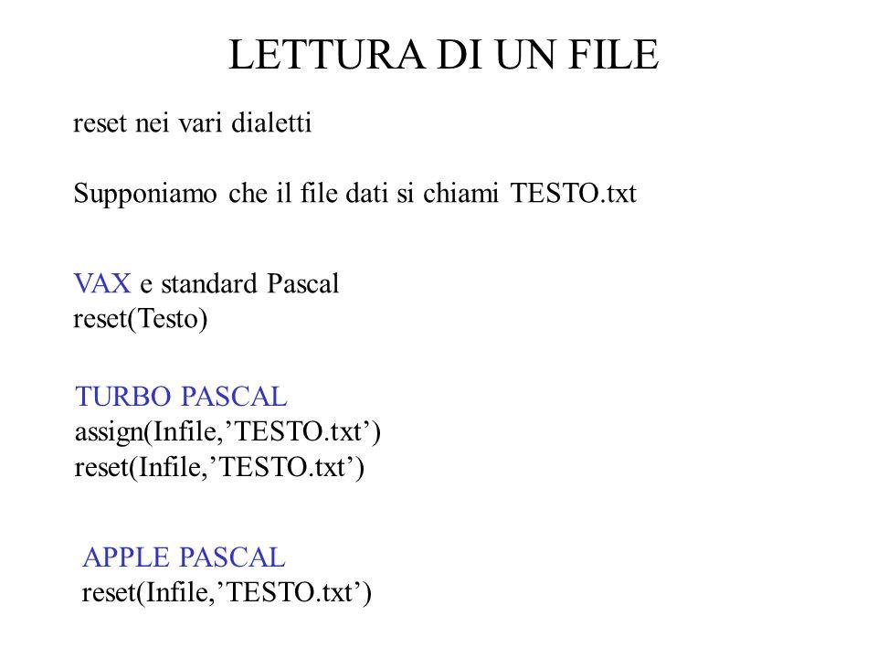 SCRITTURA DI UN FILE Si può copiare un file in un altro anche leggendo un rigo alla volta close (IdentificatoreFile) close () Identificatore file procedure close( Prodat);