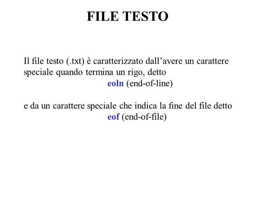 FILE TESTO Il file testo (.txt) è caratterizzato dallavere un carattere speciale quando termina un rigo, detto eoln (end-of-line) e da un carattere speciale che indica la fine del file detto eof (end-of-file)