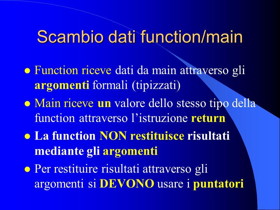 Scambio dati function/main l Function riceve dati da main attraverso gli argomenti formali (tipizzati) l Main riceve un valore dello stesso tipo della