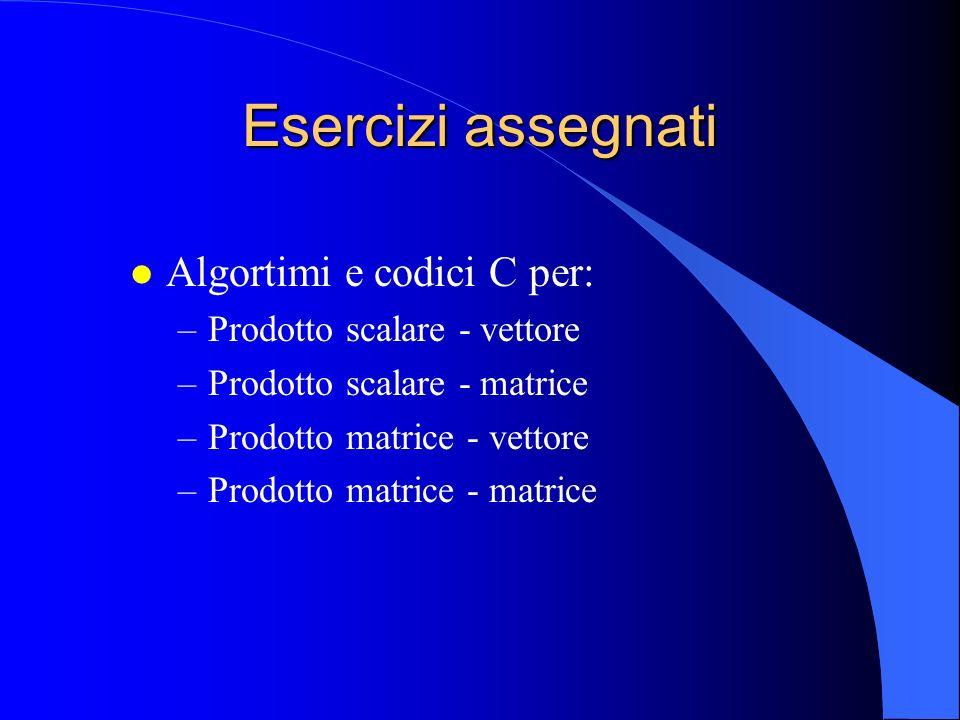 l Algortimi e codici C per: –Prodotto scalare - vettore –Prodotto scalare - matrice –Prodotto matrice - vettore –Prodotto matrice - matrice