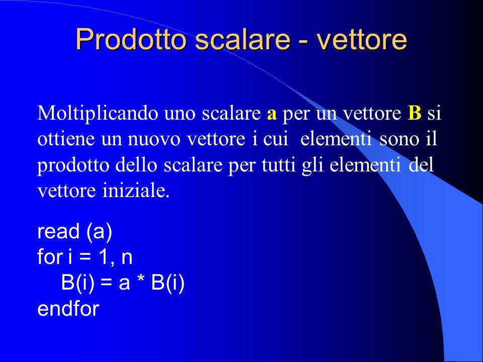 Prodotto scalare - matrice Moltiplicando uno scalare a per una matrice B si ottiene una nuova matrice i cui elementi sono il prodotto dello scalare per tutti gli elementi della matrice iniziale.