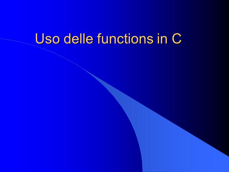 Uso delle functions l Riduzione delle linee di codice –sequenze di istruzioni identiche da ripetere più volte in punti diversi del programma l Semplificazione della scrittura del codice l Trsportabilità (riutilizzazione) in altri programmi