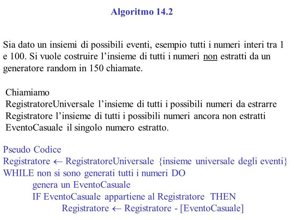 Sia dato un insiemi di possibili eventi, esempio tutti i numeri interi tra 1 e 100. Si vuole costruire linsieme di tutti i numeri non estratti da un g