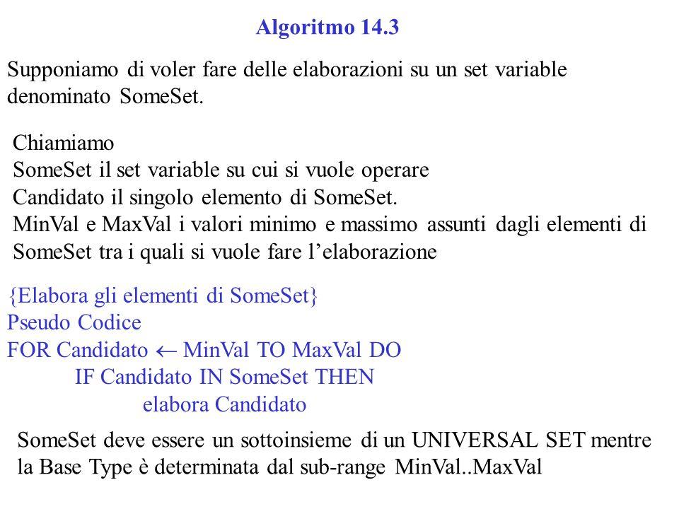 Supponiamo di voler fare delle elaborazioni su un set variable denominato SomeSet.