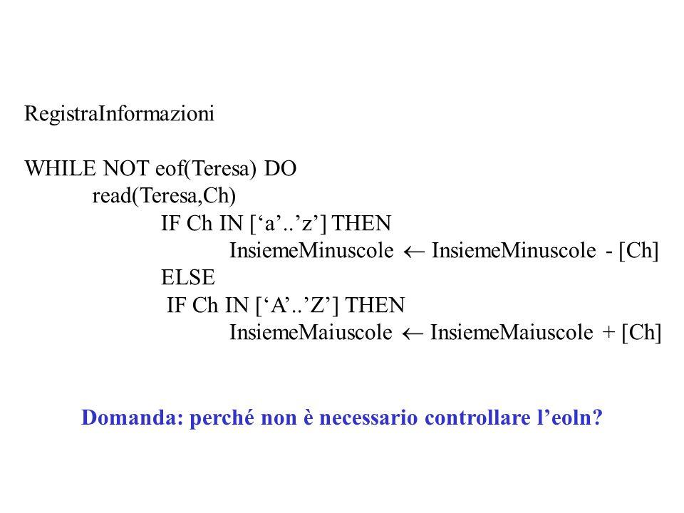 RegistraInformazioni WHILE NOT eof(Teresa) DO read(Teresa,Ch) IF Ch IN [a..z] THEN InsiemeMinuscole InsiemeMinuscole - [Ch] ELSE IF Ch IN [A..Z] THEN InsiemeMaiuscole InsiemeMaiuscole + [Ch] Domanda: perché non è necessario controllare leoln