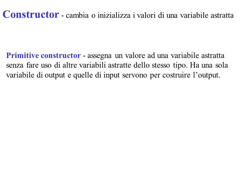 Constructor - cambia o inizializza i valori di una variabile astratta Primitive constructor - assegna un valore ad una variabile astratta senza fare u