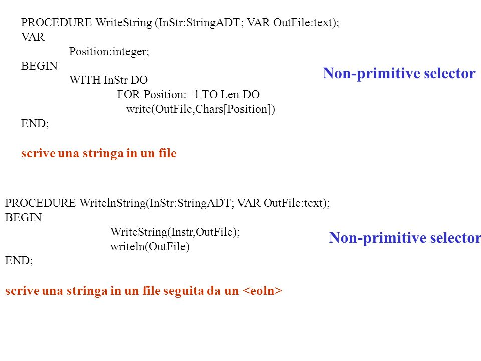 PROCEDURE WritelnString(InStr:StringADT; VAR OutFile:text); BEGIN WriteString(Instr,OutFile); writeln(OutFile) END; scrive una stringa in un file seguita da un Non-primitive selector PROCEDURE WriteString (InStr:StringADT; VAR OutFile:text); VAR Position:integer; BEGIN WITH InStr DO FOR Position:=1 TO Len DO write(OutFile,Chars[Position]) END; scrive una stringa in un file Non-primitive selector