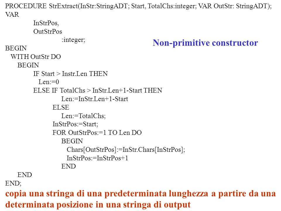 Non-primitive constructor PROCEDURE StrExtract(InStr:StringADT; Start, TotalChs:integer; VAR OutStr: StringADT); VAR InStrPos, OutStrPos :integer; BEGIN WITH OutStr DO BEGIN IF Start > Instr.Len THEN Len:=0 ELSE IF TotalChs > InStr.Len+1-Start THEN Len:=InStr.Len+1-Start ELSE Len:=TotalChs; InStrPos:=Start; FOR OutStrPos:=1 TO Len DO BEGIN Chars[OutStrPos]:=InStr.Chars[InStrPos]; InStrPos:=InStrPos+1 END END; copia una stringa di una predeterminata lunghezza a partire da una determinata posizione in una stringa di output