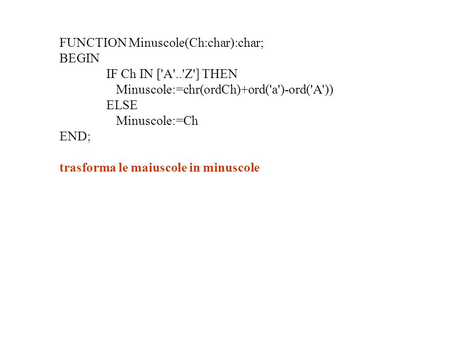 FUNCTION Minuscole(Ch:char):char; BEGIN IF Ch IN [ A .. Z ] THEN Minuscole:=chr(ordCh)+ord( a )-ord( A )) ELSE Minuscole:=Ch END; trasforma le maiuscole in minuscole