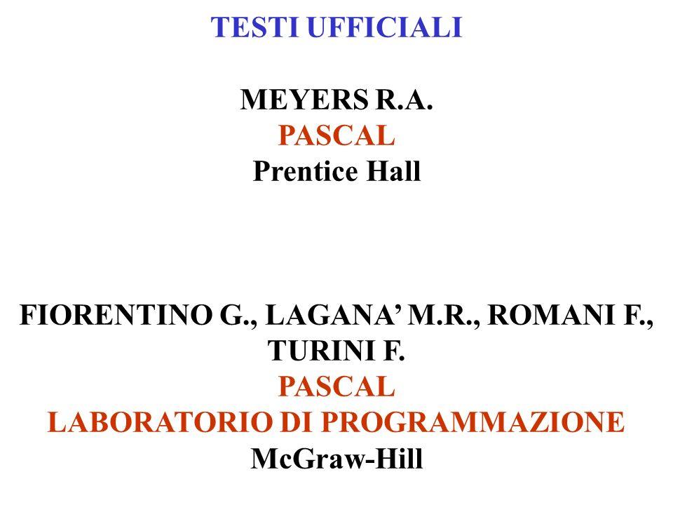 TESTI UFFICIALI MEYERS R.A. PASCAL Prentice Hall FIORENTINO G., LAGANA M.R., ROMANI F., TURINI F. PASCAL LABORATORIO DI PROGRAMMAZIONE McGraw-Hill
