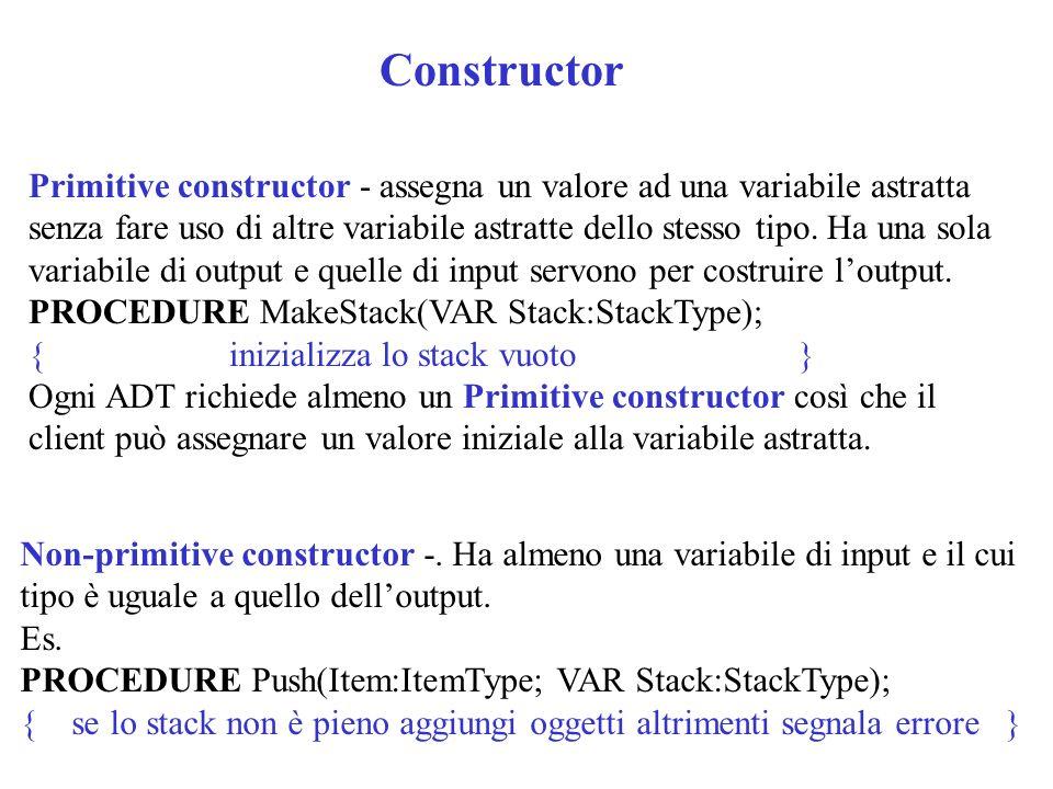 Constructor Primitive constructor - assegna un valore ad una variabile astratta senza fare uso di altre variabile astratte dello stesso tipo. Ha una s
