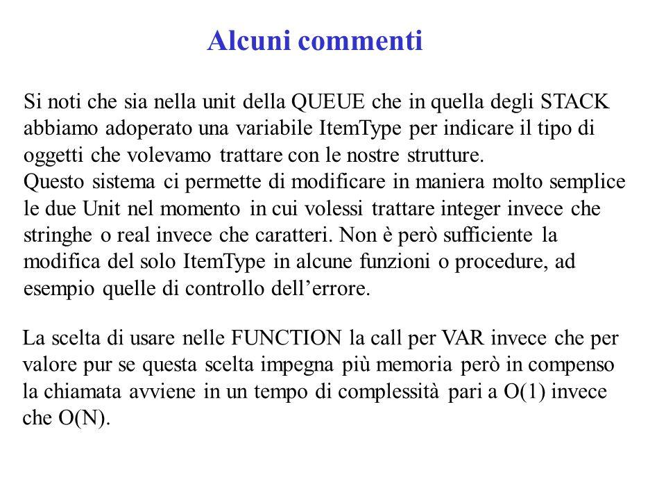 Alcuni commenti Si noti che sia nella unit della QUEUE che in quella degli STACK abbiamo adoperato una variabile ItemType per indicare il tipo di oggetti che volevamo trattare con le nostre strutture.