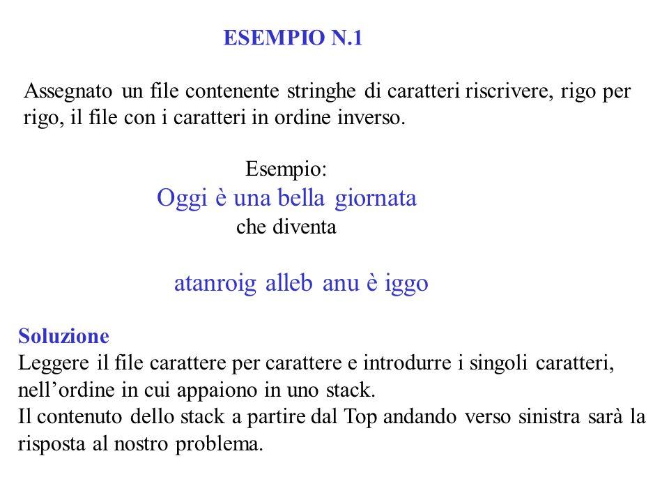 ESEMPIO N.1 Assegnato un file contenente stringhe di caratteri riscrivere, rigo per rigo, il file con i caratteri in ordine inverso. Esempio: Oggi è u