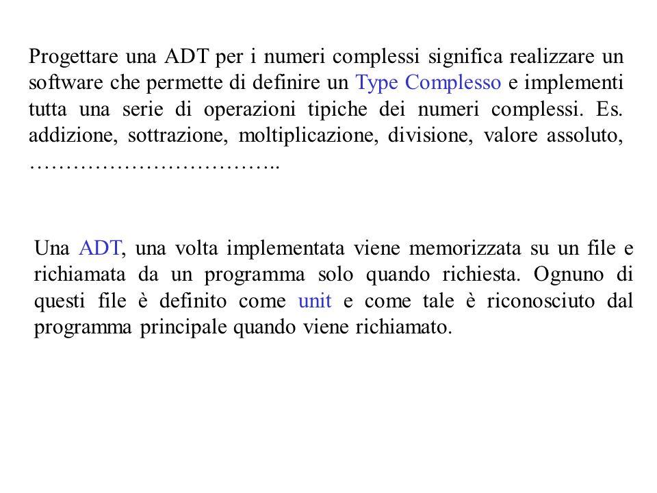 Una ADT, una volta implementata viene memorizzata su un file e richiamata da un programma solo quando richiesta.