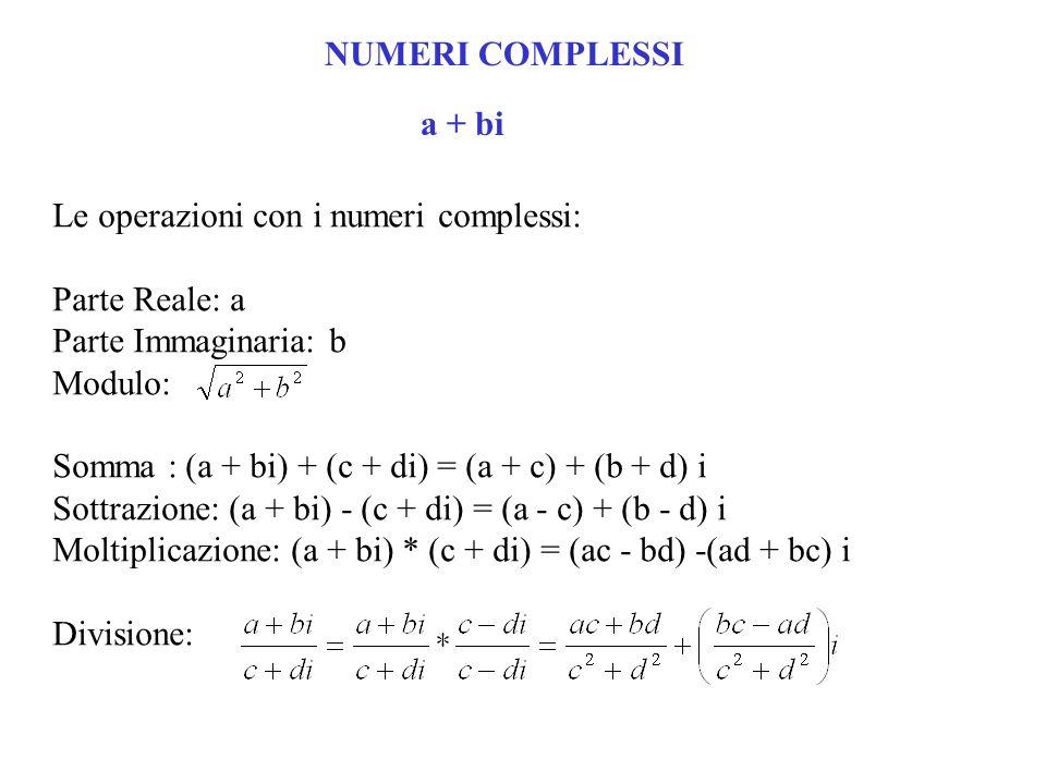 NUMERI COMPLESSI a + bi Le operazioni con i numeri complessi: Parte Reale: a Parte Immaginaria: b Modulo: Somma : (a + bi) + (c + di) = (a + c) + (b + d) i Sottrazione: (a + bi) - (c + di) = (a - c) + (b - d) i Moltiplicazione: (a + bi) * (c + di) = (ac - bd) -(ad + bc) i Divisione: