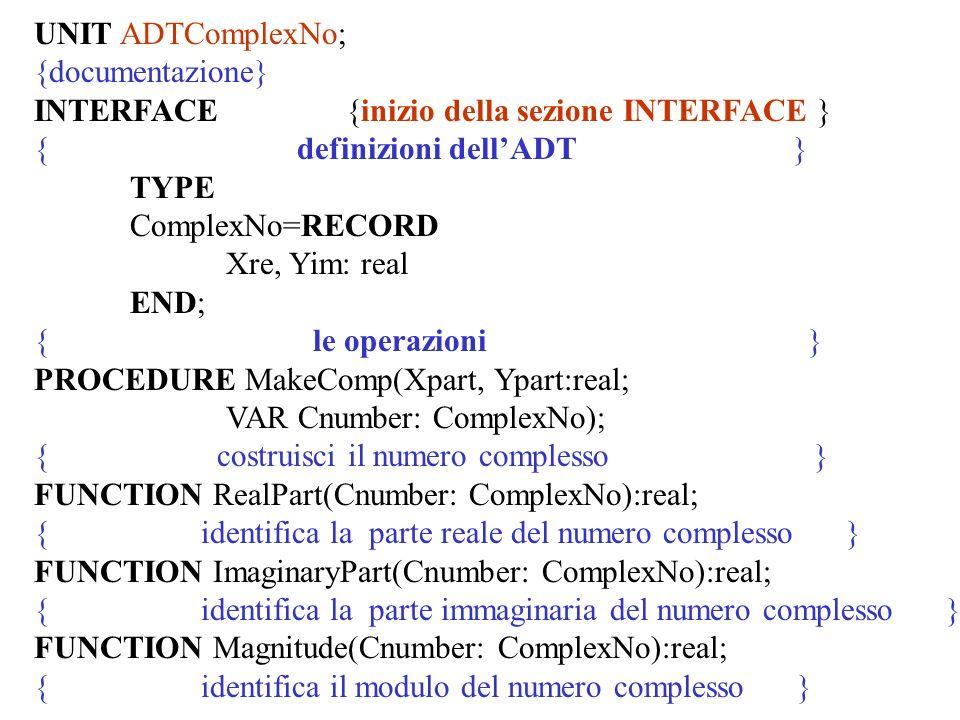 UNIT ADTComplexNo; {documentazione} INTERFACE {inizio della sezione INTERFACE } { definizioni dellADT } TYPE ComplexNo=RECORD Xre, Yim: real END; { le operazioni } PROCEDURE MakeComp(Xpart, Ypart:real; VAR Cnumber: ComplexNo); { costruisci il numero complesso } FUNCTION RealPart(Cnumber: ComplexNo):real; { identifica la parte reale del numero complesso } FUNCTION ImaginaryPart(Cnumber: ComplexNo):real; { identifica la parte immaginaria del numero complesso } FUNCTION Magnitude(Cnumber: ComplexNo):real; { identifica il modulo del numero complesso }