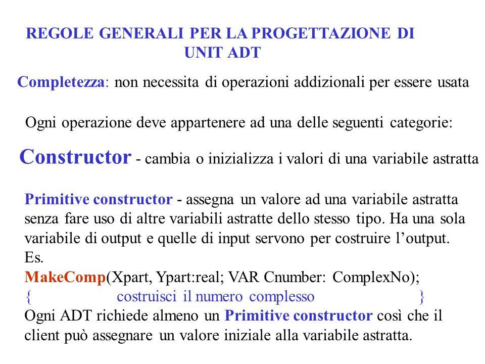 REGOLE GENERALI PER LA PROGETTAZIONE DI UNIT ADT Completezza: non necessita di operazioni addizionali per essere usata Ogni operazione deve appartener