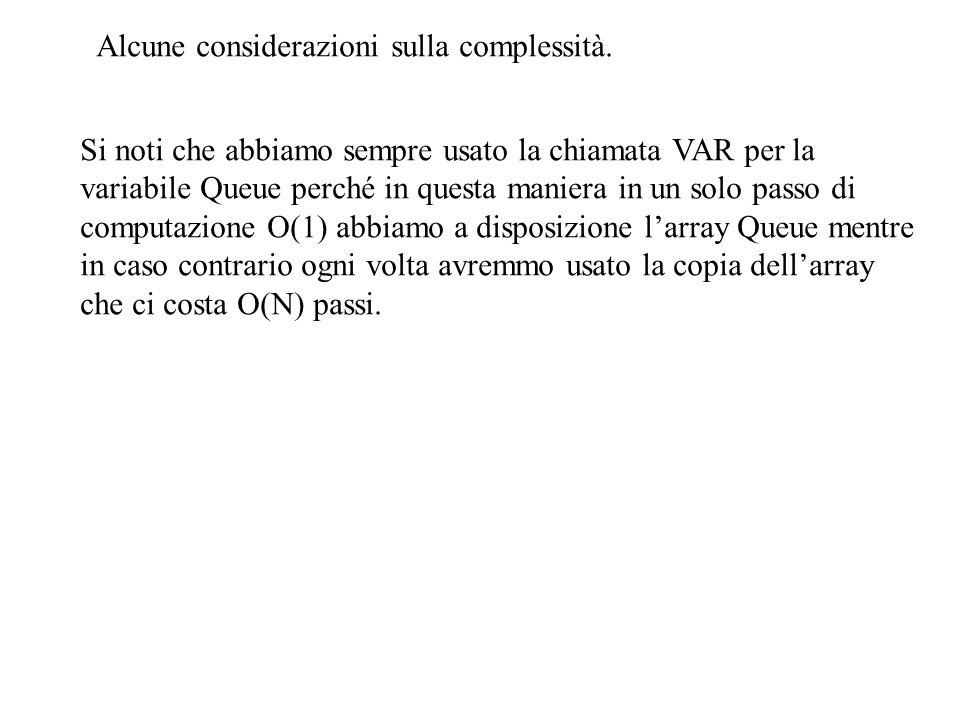 Alcune considerazioni sulla complessità. Si noti che abbiamo sempre usato la chiamata VAR per la variabile Queue perché in questa maniera in un solo p