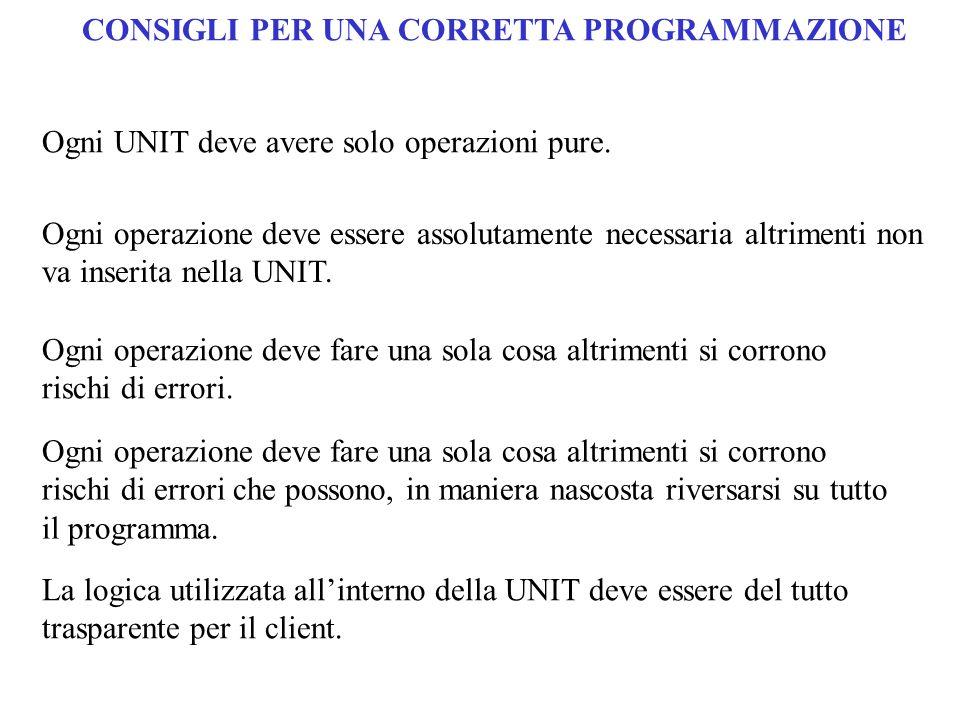 Ogni UNIT deve avere solo operazioni pure. Ogni operazione deve essere assolutamente necessaria altrimenti non va inserita nella UNIT. Ogni operazione