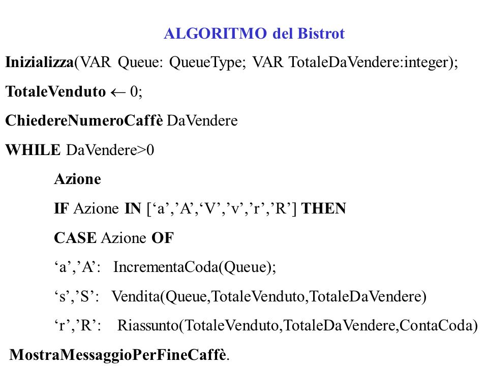 ALGORITMO del Bistrot Inizializza(VAR Queue: QueueType; VAR TotaleDaVendere:integer); TotaleVenduto 0; ChiedereNumeroCaffè DaVendere WHILE DaVendere>0 Azione IF Azione IN [a,A,V,v,r,R] THEN CASE Azione OF a,A: IncrementaCoda(Queue); s,S: Vendita(Queue,TotaleVenduto,TotaleDaVendere) r,R: Riassunto(TotaleVenduto,TotaleDaVendere,ContaCoda) MostraMessaggioPerFineCaffè.