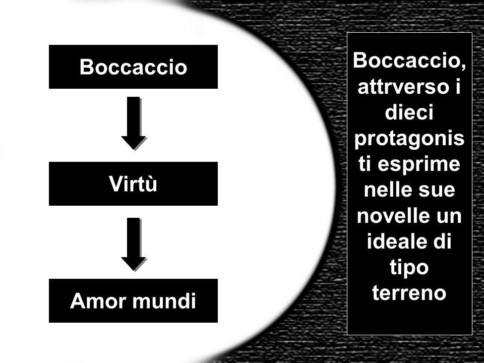 Boccaccio Virtù Amor mundi Boccaccio, attrverso i dieci protagonis ti esprime nelle sue novelle un ideale di tipo terreno