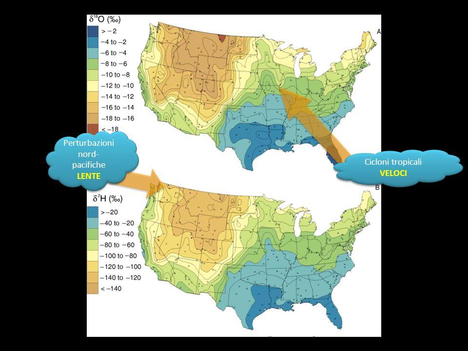 Perturbazioni nord- pacifiche LENTE Perturbazioni nord- pacifiche LENTE Cicloni tropicali VELOCI Cicloni tropicali VELOCI