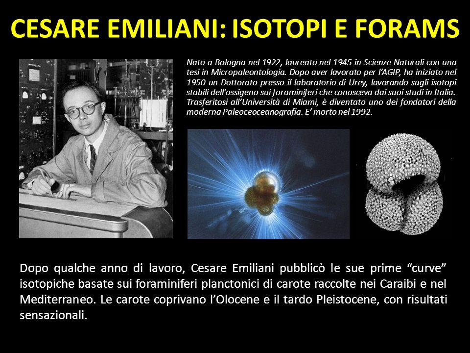 CESARE EMILIANI: ISOTOPI E FORAMS Nato a Bologna nel 1922, laureato nel 1945 in Scienze Naturali con una tesi in Micropaleontologia. Dopo aver lavorat