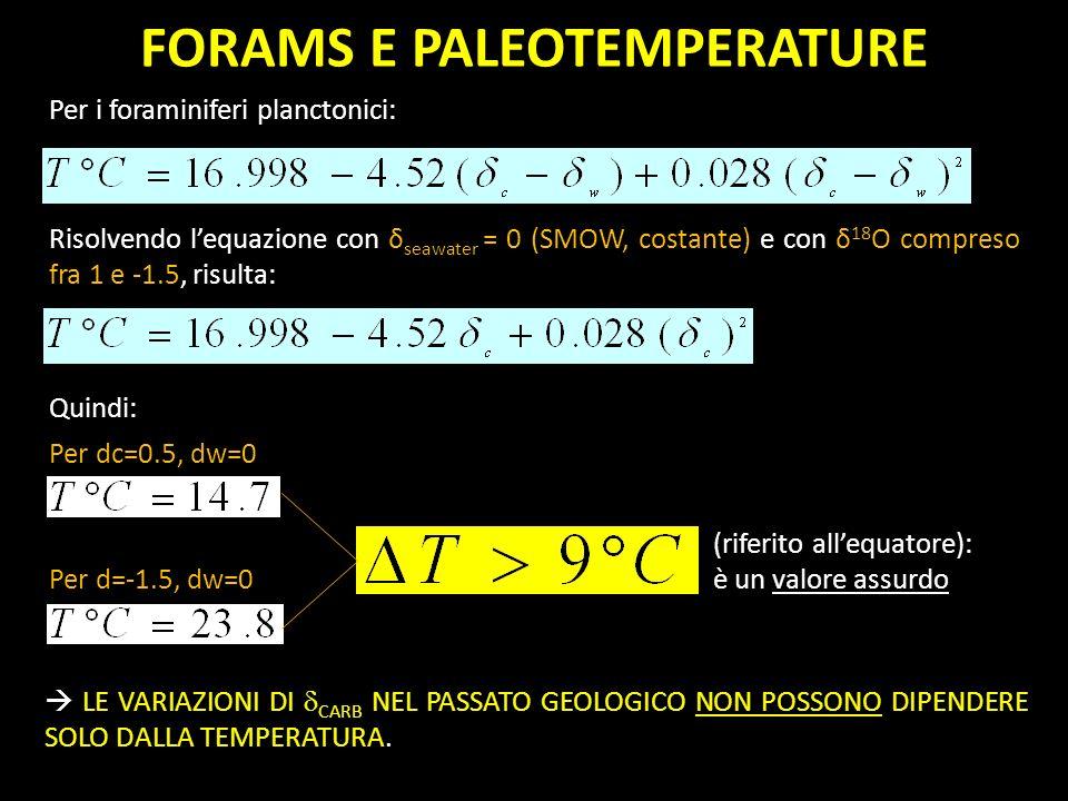 Per i foraminiferi planctonici: Per dc=0.5, dw=0 Per d=-1.5, dw=0 FORAMS E PALEOTEMPERATURE Risolvendo lequazione con δ seawater = 0 (SMOW, costante)