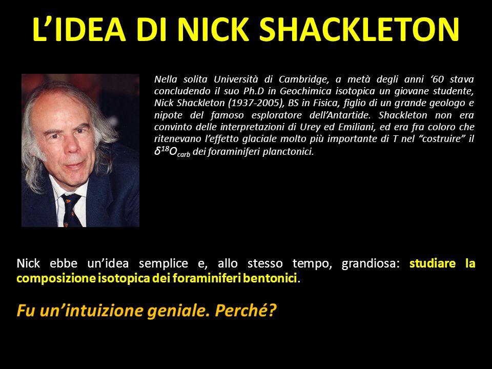 δ 18 O Nella solita Università di Cambridge, a metà degli anni 60 stava concludendo il suo Ph.D in Geochimica isotopica un giovane studente, Nick Shac