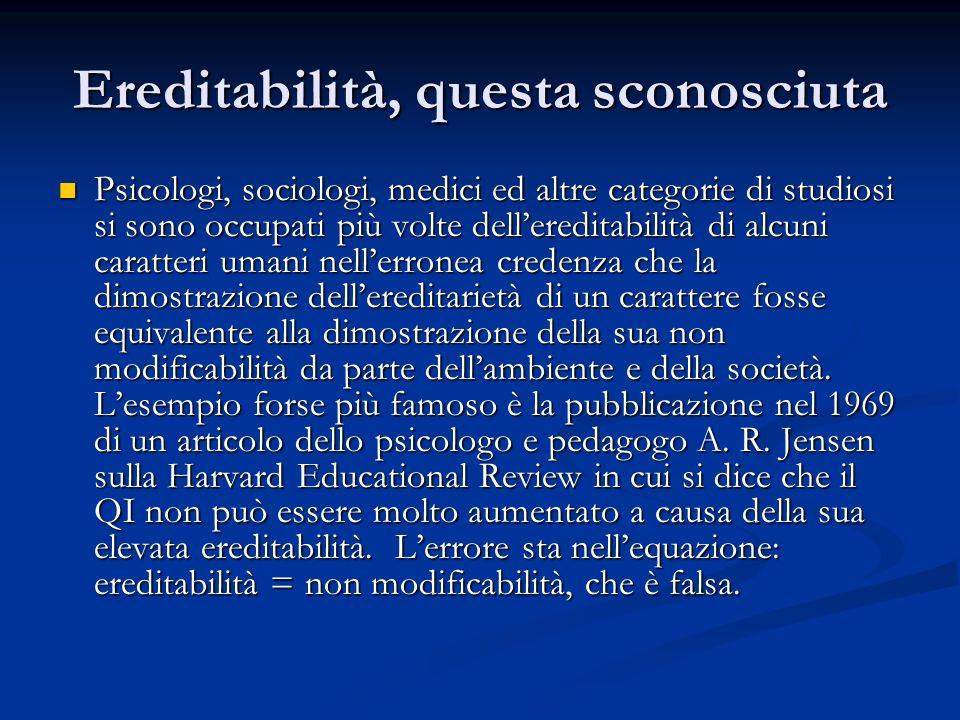 Ereditabilità, questa sconosciuta Psicologi, sociologi, medici ed altre categorie di studiosi si sono occupati più volte dellereditabilità di alcuni c
