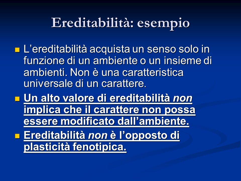 Ereditabilità: esempio Lereditabilità acquista un senso solo in funzione di un ambiente o un insieme di ambienti. Non è una caratteristica universale