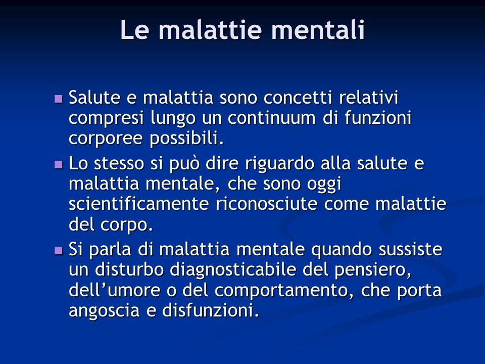Le malattie mentali Salute e malattia sono concetti relativi compresi lungo un continuum di funzioni corporee possibili. Salute e malattia sono concet