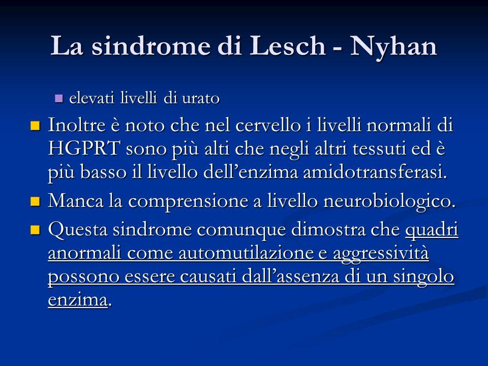 La sindrome di Lesch - Nyhan elevati livelli di urato elevati livelli di urato Inoltre è noto che nel cervello i livelli normali di HGPRT sono più alt