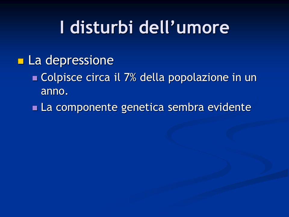 I disturbi dellumore La depressione La depressione Colpisce circa il 7% della popolazione in un anno. Colpisce circa il 7% della popolazione in un ann