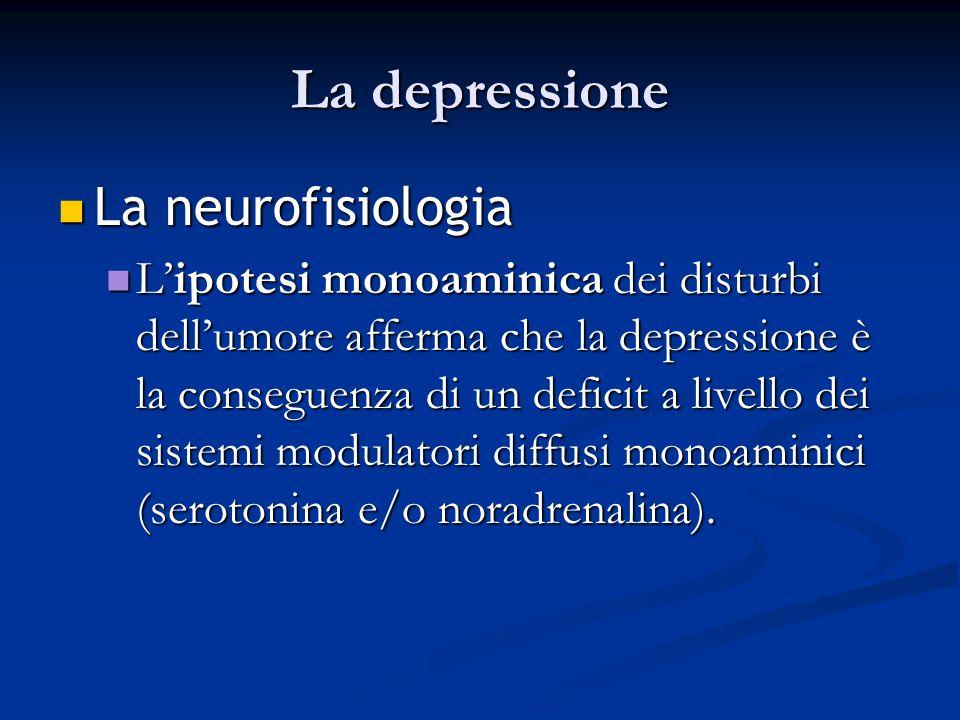 La depressione La La neurofisiologia Lipotesi Lipotesi monoaminica monoaminica dei disturbi dellumore afferma che la depressione è la conseguenza di u