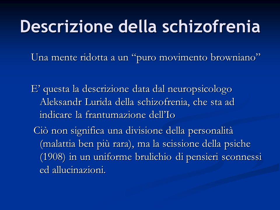 Descrizione della schizofrenia Una mente ridotta a un puro movimento browniano E questa la descrizione data dal neuropsicologo Aleksandr Lurida della