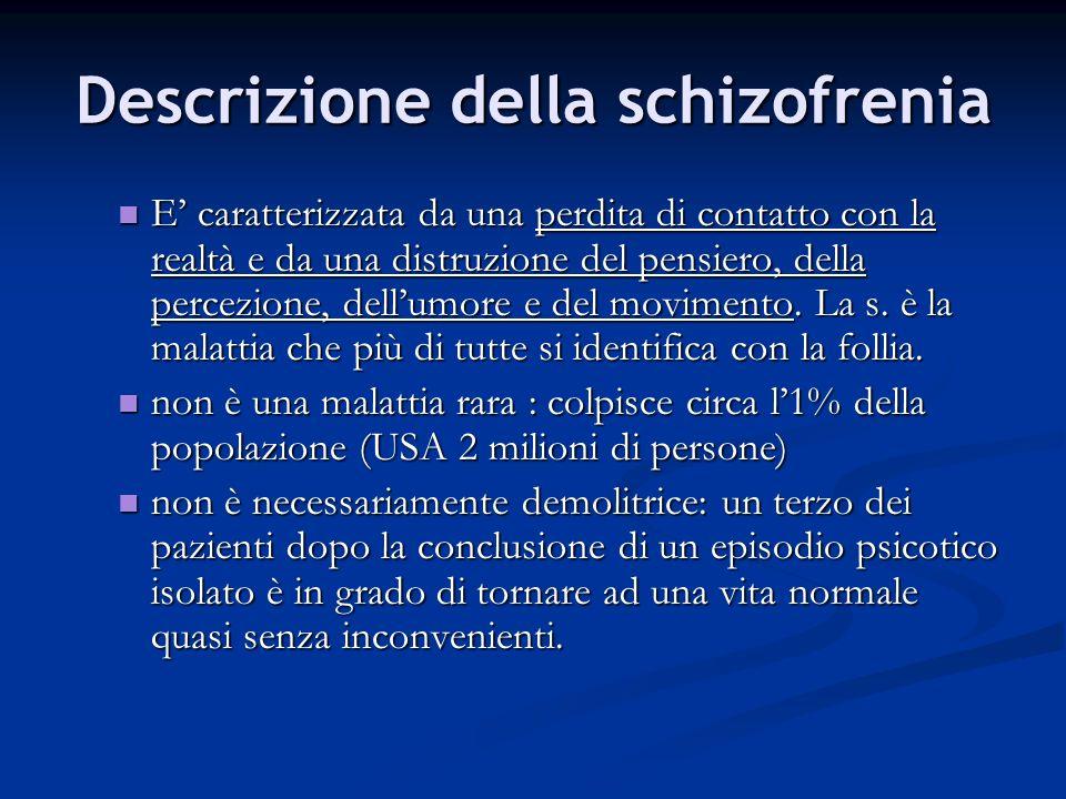 Descrizione della schizofrenia E caratterizzata da una perdita di contatto con la realtà e da una distruzione del pensiero, della percezione, dellumor