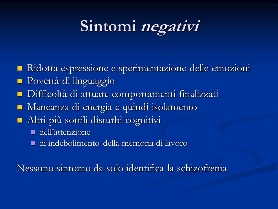 Sintomi negativi Ridotta espressione e sperimentazione delle emozioni Ridotta espressione e sperimentazione delle emozioni Povertà di linguaggio Pover