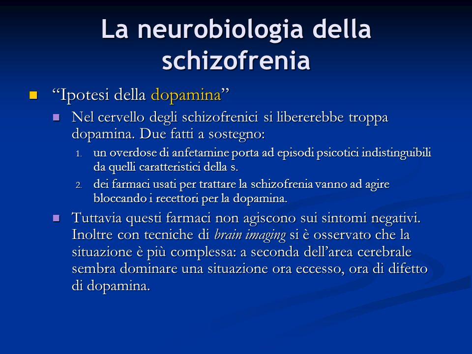 La neurobiologia della schizofrenia Ipotesi della dopamina Ipotesi della dopamina Nel cervello degli schizofrenici si libererebbe troppa dopamina. Due