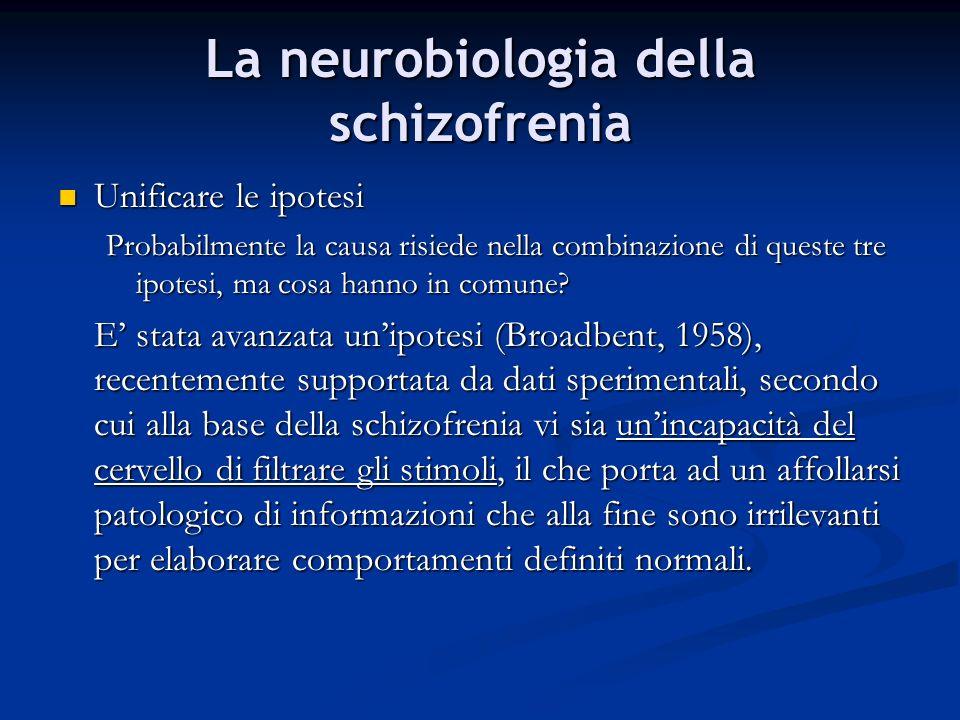 La neurobiologia della schizofrenia Unificare le ipotesi Unificare le ipotesi Probabilmente la causa risiede nella combinazione di queste tre ipotesi,