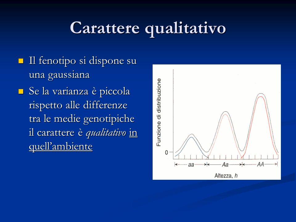 Carattere qualitativo Il fenotipo si dispone su una gaussiana Il fenotipo si dispone su una gaussiana Se la varianza è piccola rispetto alle differenz