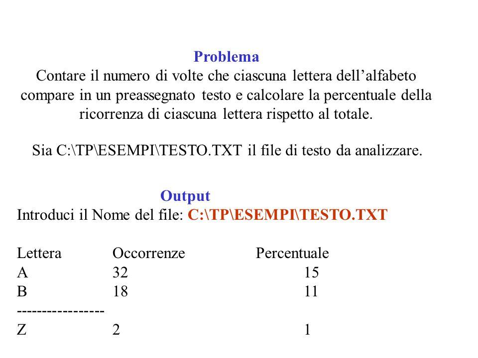 Problema Contare il numero di volte che ciascuna lettera dellalfabeto compare in un preassegnato testo e calcolare la percentuale della ricorrenza di