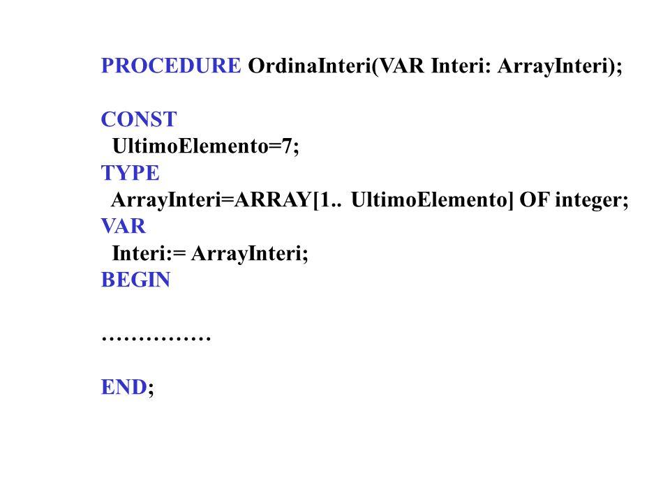 PROCEDURE OrdinaInteri(VAR Interi: ArrayInteri); CONST UltimoElemento=7; TYPE ArrayInteri=ARRAY[1.. UltimoElemento] OF integer; VAR Interi:= ArrayInte