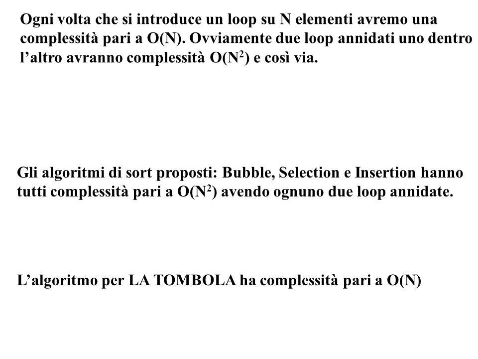 Ogni volta che si introduce un loop su N elementi avremo una complessità pari a O(N). Ovviamente due loop annidati uno dentro laltro avranno complessi