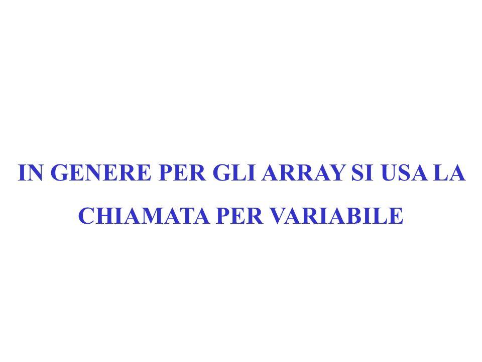 Le chiamate degli array per valore e per variabile sottostanno agli stessi criteri validi per le variabili classiche: la chiamata per valore non modif