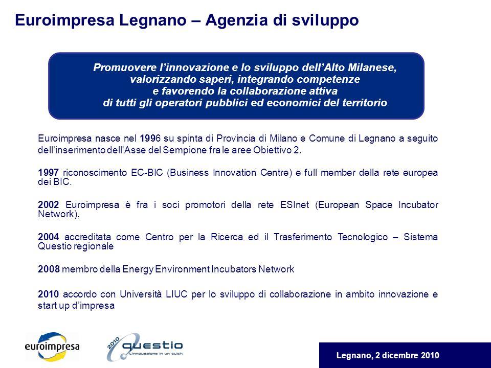 Legnano, 2 dicembre 2010 Euroimpresa Legnano – Agenzia di sviluppo Euroimpresa nasce nel 1996 su spinta di Provincia di Milano e Comune di Legnano a seguito dellinserimento dell Asse del Sempione fra le aree Obiettivo 2.