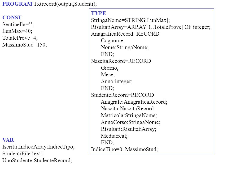 PROGRAM Txtrecord(output,Studenti); CONST Sentinella= ; LunMax=40; TotaleProve=4; MassimoStud=150; VAR Iscritti,IndiceArray:IndiceTipo; StudentiFile:text; UnoStudente:StudenteRecord; TYPE StringaNome=STRING[LunMax]; RisultatiArray=ARRAY[1..TotaleProve] OF integer; AnagraficaRecord=RECORD Cognome, Nome:StringaNome; END; NascitaRecord=RECORD Giorno, Mese, Anno:integer; END; StudenteRecord=RECORD Anagrafe:AnagraficaRecord; Nascita:NascitaRecord; Matricola:StringaNome; AnnoCorso:StringaNome; Risultati:RisultatiArray; Media:real; END; IndiceTipo=0..MassimoStud;