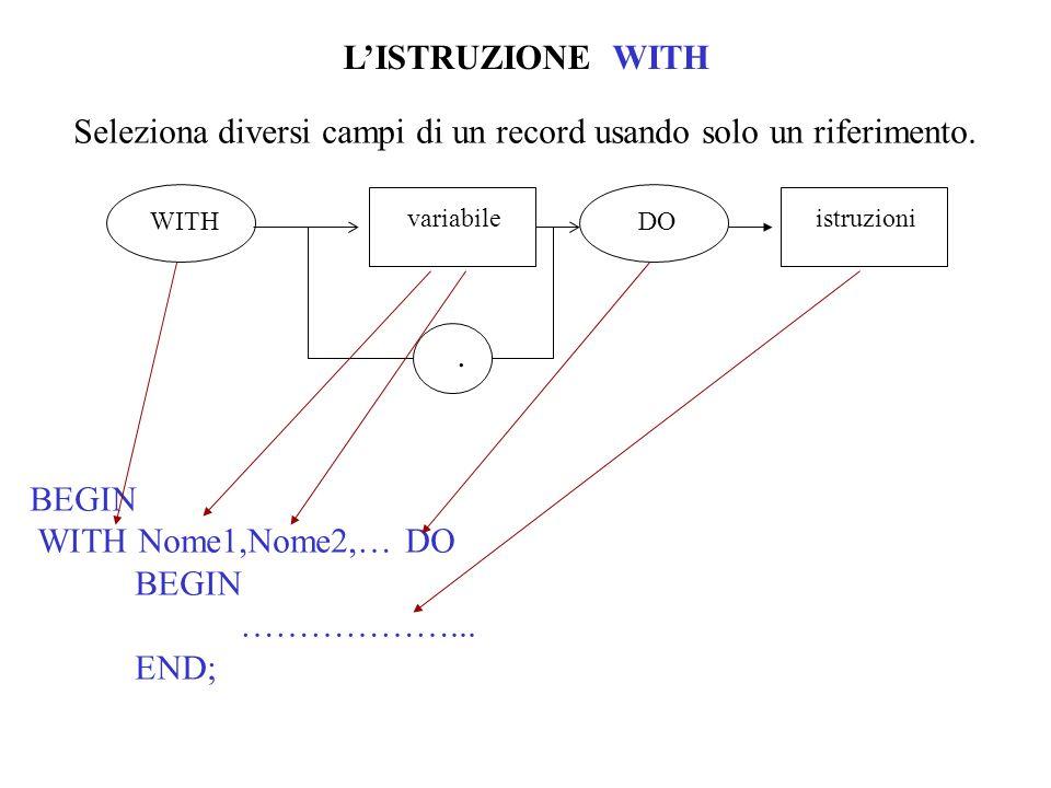 LISTRUZIONE WITH Seleziona diversi campi di un record usando solo un riferimento.